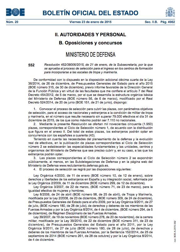 boletín oficial de estado ministerio de defensa
