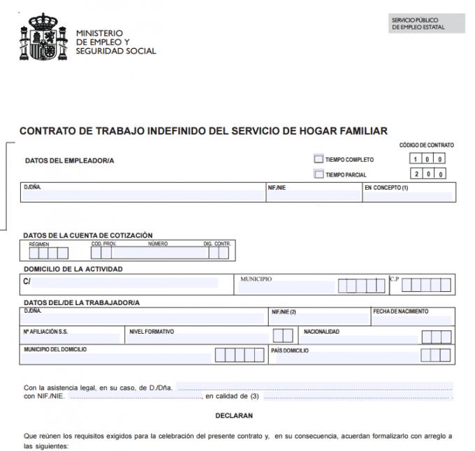 Normativas para empleadas del hogar for Contrato empleada hogar