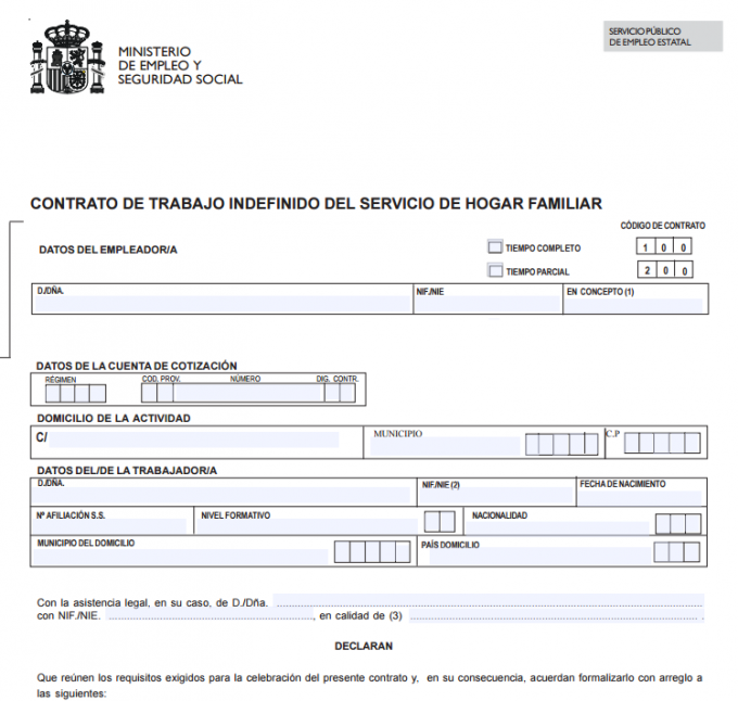 Normativas para empleadas del hogar for Modelo contrato empleada de hogar indefinido