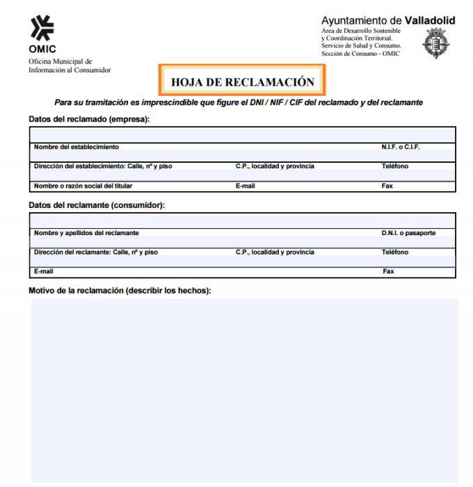 Cómo rellenar una hoja de reclamaciones | Cursosinemweb.es