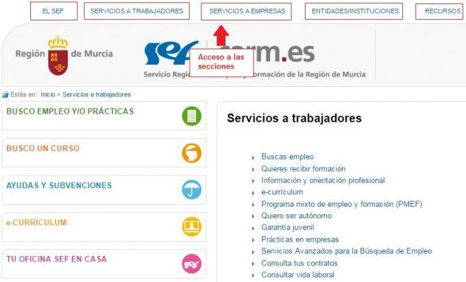 Sefcarm servicio regional de empleo de murcia accede a for Oficinas sef murcia