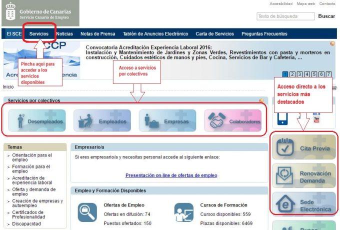 Servicio canario de empleo sce for Oficina virtual empleo jccm