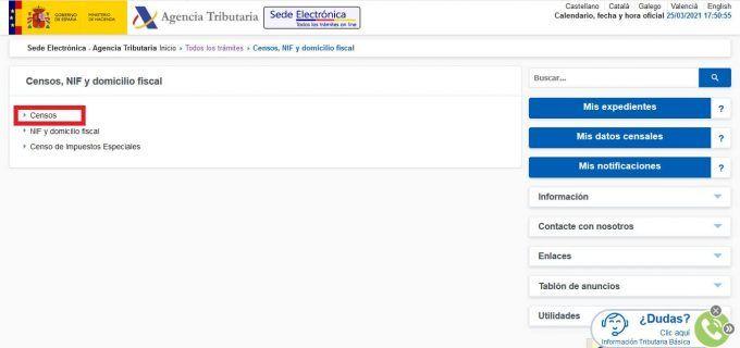 Baja autónomos Hacienda online paso 2
